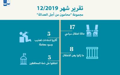 """تقرير شهر كانون أول/ ديسمبر 2019، لمجموعة """"محامون من أجل العدالة"""""""